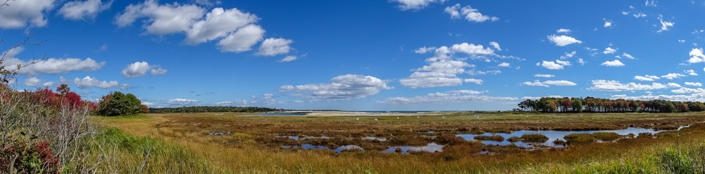 Approaching an 180 degree sweep. Wells National Estuarine Research Center at Laudholm Farm. Sony HX400V.