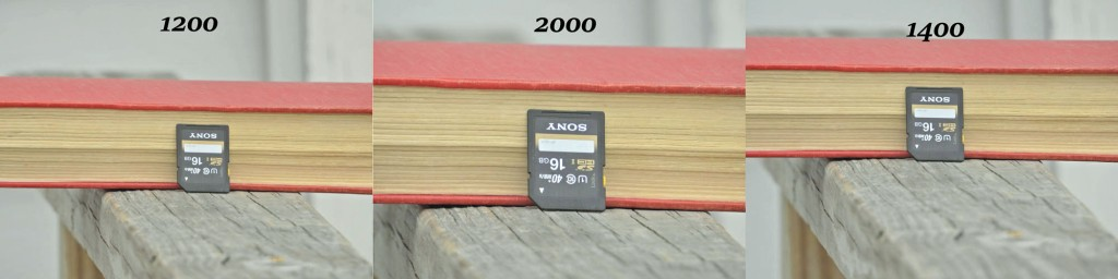 Relative size from the same position at 1200, 1400, and 2000mm equivalents